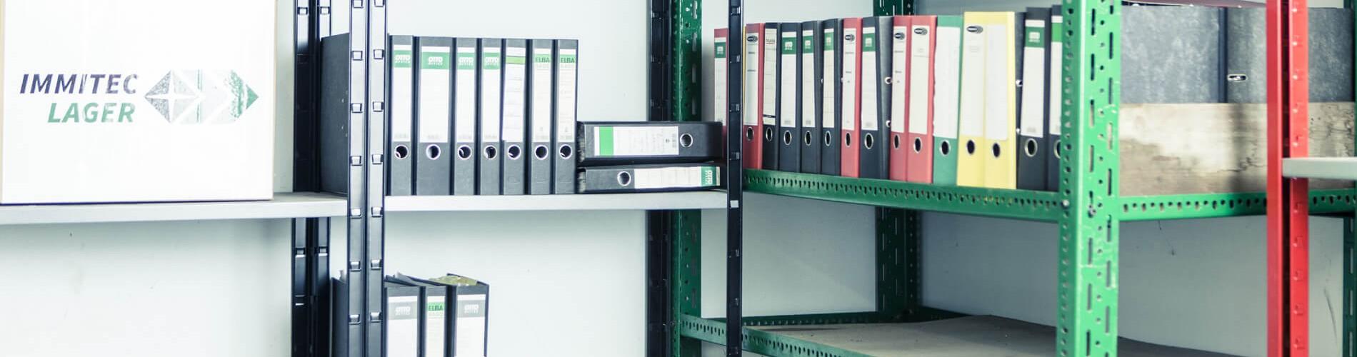 Regalsystem im Akten- & Archivlager von immitec Lager
